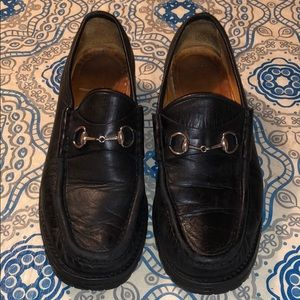 Gucci leather loafers horsebit vintage Italy